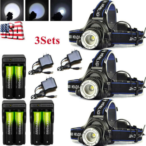 80000Lumens T6 Zoom LED Flashlight Torch Lamp Rechargeable 18650BTY Charger USA