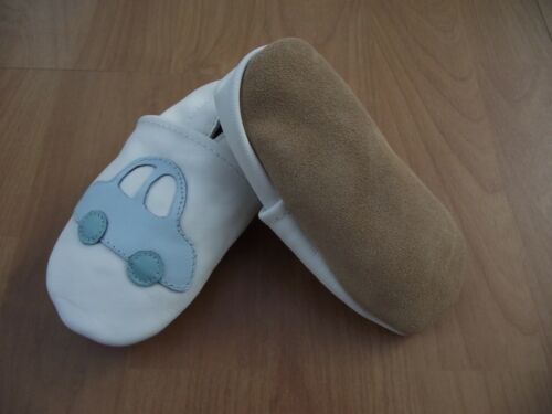Baby Boy/'s Superior Soft Real Leather Pram First Shoes 6-24 M White /& Blue Car
