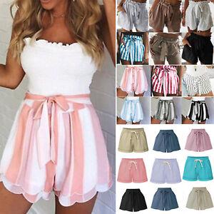 Womens-Summer-Shorts-High-Waist-Girls-Casual-Beach-Hot-Pants-Loose-Skorts-Pants