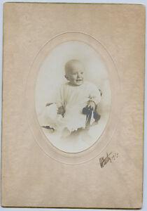 2 Antique Photo's-1916 Cute Baby Sitting in Small Chair-Doris Alberta Yocom