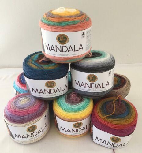 Acrylic DK weight multi-color striped cake yarn 590 yards Lion Brand Mandala