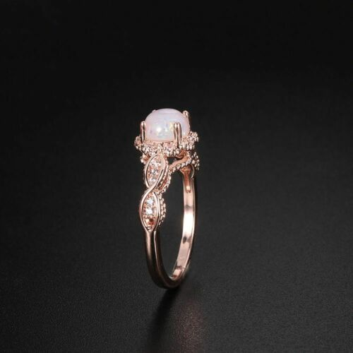 Wedding Jewelry Fire Opal Ring White Cubic Zirconia Round Cut Rose Gold Filled