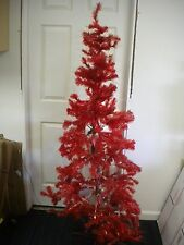 VINTAGE ARTIFICIAL RED CHRISTMAS TREE 5' HINGED PRE LIT