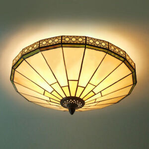 Image Is Loading Vintage Tiffany Style Stained Gl Shade Lamp Flush