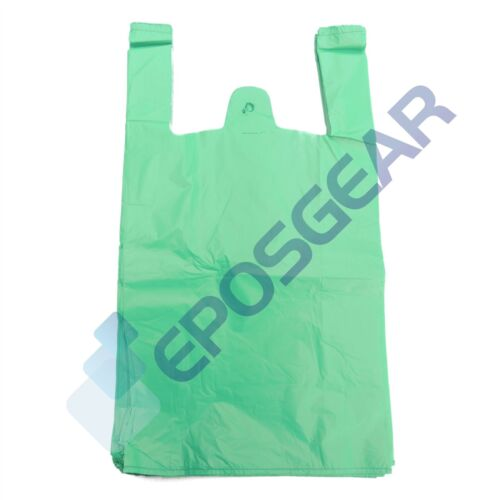 500 grandes Verde Fuerte reciclado Eco Plástico Chaleco comercial Bolsas 18mu