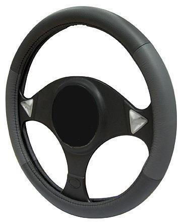 GREY//BLACK LEATHER Steering Wheel Cover 100/% Leather fits CITROEN