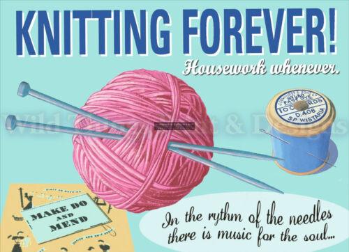 Rétro plaque métal//drôle knitting forever signe