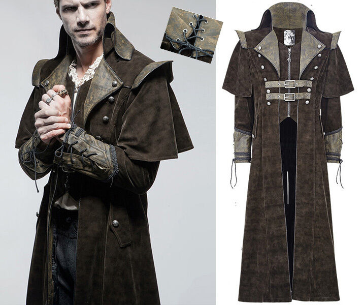 Manteau gothique dandy steampunk cape pirate denim cuir col montant Punkrave