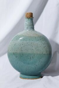 Hand-Made-Stoneware-Cyan-Decanter-With-Cork