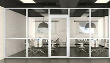 Cgp Office Partition System Glass Aluminum Wall 18x9 Withdoor White Semi