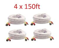White New 4X 150ft BNC CCTV Video Power Cable CCD Security Camera DVR Wire Cord