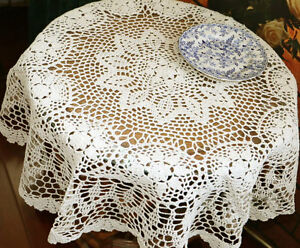 Linens & Textiles (pre-1930) 2019 New Style Lovely New Hand Crochet Floral Beige Round Cotton Table Cloth