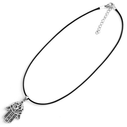Hamsa Ohm Charm Pendant Necklace with Black Cord