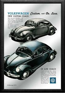 Spiegelbild-VW-Kaefer-Custom-Deluxe-20x30-cm-Spiegel-Druck-und-Rahmen-Volkswagen