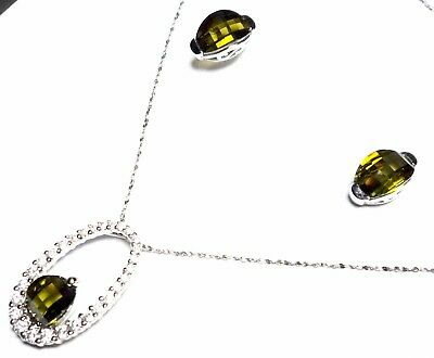Best Quality Free Gift Box Sterling Silver Clear /& Green Cz Cameo Pendant
