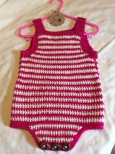 Vintage Retro Style Handmade Crochet Baby Romper Baby Grow Ebay