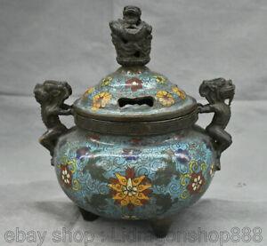 Encensoir-brule-d-039-encens-en-bronze-cloisonne-Palace-de-7-6-po-porcelaine-Chine