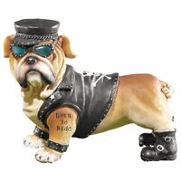 Boy / Male Biker Bulldog Figurine Born To Ride Tattoo Black Jacket Garden Yard