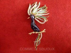 """Broche """"oiseau Foisonnant"""" N° 4 Dorée Plumage Au Vent - Bijoux Pur Bestiaire"""