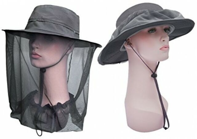 ca5f2b12 Lenikis Outdoor Sun Protection Hats With Mosquito Head Net Grey Headwear  Shoes for sale online | eBay