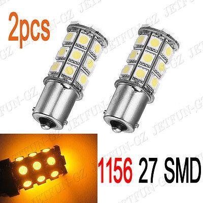 2X Amber Yellow 1156 BA15S 27 SMD 5050 LED Light Bulb Turn Signal Backup Reverse