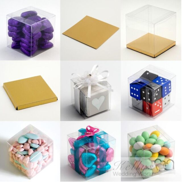 9cm Clear Cube Wedding Favour Boxes Pk 10 flat packed contents and decorations