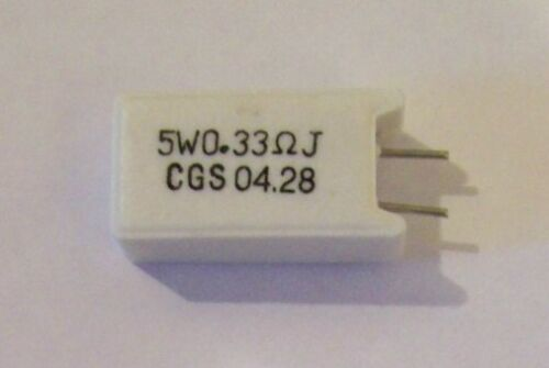 NOS Ceramic Cement Resistor 0.33 Ohms  5W Radial 24mm height