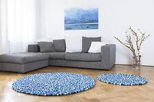 myfelt Emma 200 cm Design Teppich blau Wolle Filzkugelteppich Kinder-Teppich