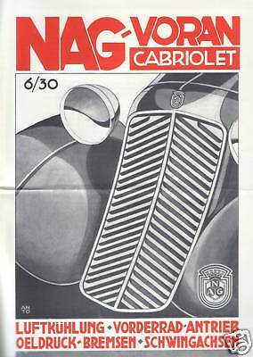 %%% Nag Avanti Cabriolet 6/30 Prospetto 1933/34 Berlino- Design Moderno