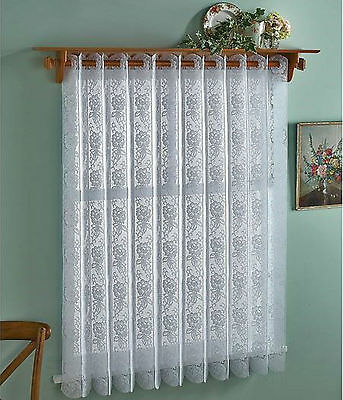 Rose Design Vertical Lace Blinds/Net White.Easy To Fit & Can Be Altered To Size