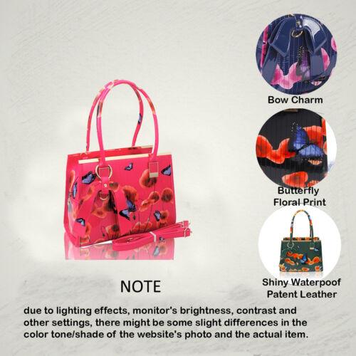 bleu no Sac 2in1 foncé Épaule Bag main rose Existencias Womens fuchsia gris vert Wallet à Hay Print amande Purse Patent Noir Floral rouge Set perle gris New Shiny ZSrxTZq