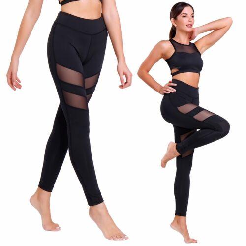 Womens Mesh Yoga Pants Workout Gym Fitness Mesh Splice Leggings Sports Trousers