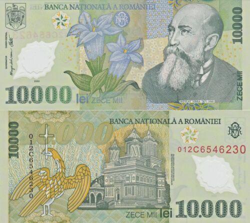 gentian flower writer Nicolae Lorga Romania P112a POLYMER $7 CV 10,000 Lei