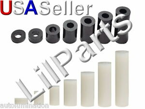 #6 #8 Nylon 6/6 Round Standoff Screw Bolt Spacers Washers Non Threaded