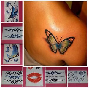 a235f56d7 Image is loading Lot-of-7PC-Temporary-Tattoos-Tribal-Butterfly-Feather-