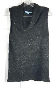 ANTONIO-MELANI-womens-size-M-black-sequined-knit-sleeveless-cowl-neck-sweater