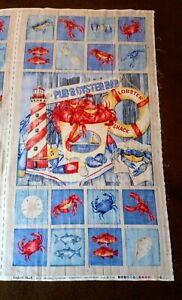 100/% COTTON NORTHCOTT SEAFOOD SHACK FISH CRABS LOBSTER FABRIC PANEL NEW