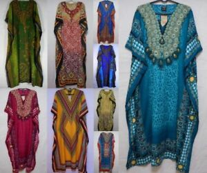 Para-Mujer-Vestido-Dashiki-Africano-Caftan-Hippie-Boho-Caftan-Maxican-Casual-encubrimiento