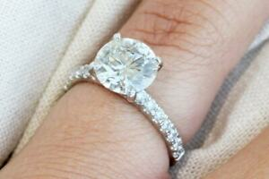 2.20 Ct Round Solitaire Moissanite Engagement Ring 18K Solid White Gold Size 5 6