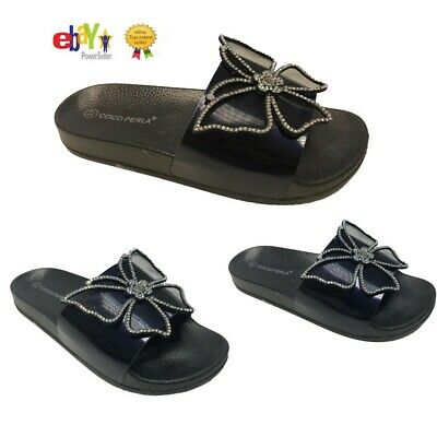 Ladies Women/'s Slip On Slipper Flat Butterfly Rubber Slider Mules Sandals Size