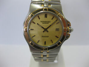 Gents-Raymond-Weil-Parsifal-Steel-amp-Gold-Bracelet-Champagne-Dial-9590-659