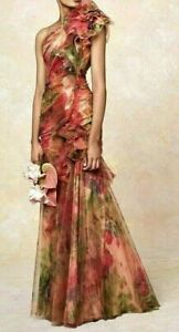 New-NWT-Marchesa-Floral-Ruffle-Tulle-Couture-Long-Dress-Evening-Gown-IT-40-US-4