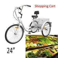 "Unisex Adult 24"" 3-Wheel 6-Speed Tricycle Trike Bicycle Bike Cruise Basket White"