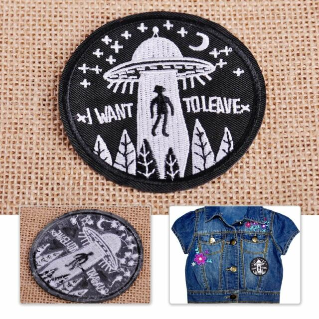 Ufo Alien Patch Embroidery Applique Flying Saucer Badge Sew Iron Bag