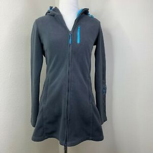 Athleta-Swara-Microfleece-Fleece-Hoodie-Floral-Stitch-Long-Turquoise-Jacket-XXS