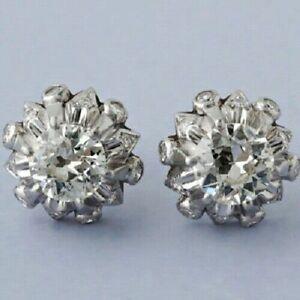 2-CT-Round-Diamond-Vintage-Art-Deco-14K-White-Gold-FN-Stud-Earrings-925-Silver