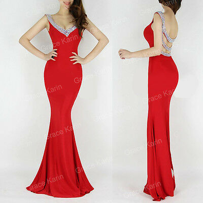 Mermaid + Beaded Wedding Bridesmaid Evening Party Gown Long Formal Prom Dresses