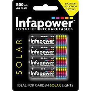 Infapower-Rechargeable-AA-Ni-MH-Solar-Light-Batteries-1-2v-600mAh-4-Pack-New