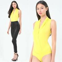 Bebe Yellow Silk Sleeveless Wrap Bodysuit Top Large L
