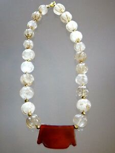 Superbe-collier-cristal-de-roche-agate-pierres-pendentif-Old-necklace-stone